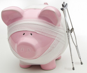 piggy bank on crutches