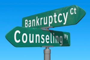 The crossroads of bankruptcy and getting help from a counselor.