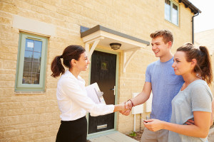 Young couple buying a home